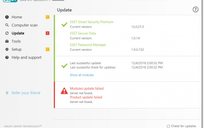 Resolve modules update errors in ESET Windows home products